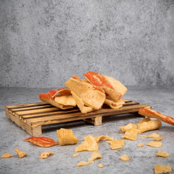 Premium fried crab stick closeup