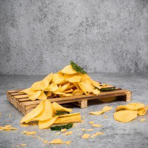 Premium salted egg arrowhead chips closeup